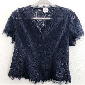 CAbi Navy Blue Lace Top sz Medium